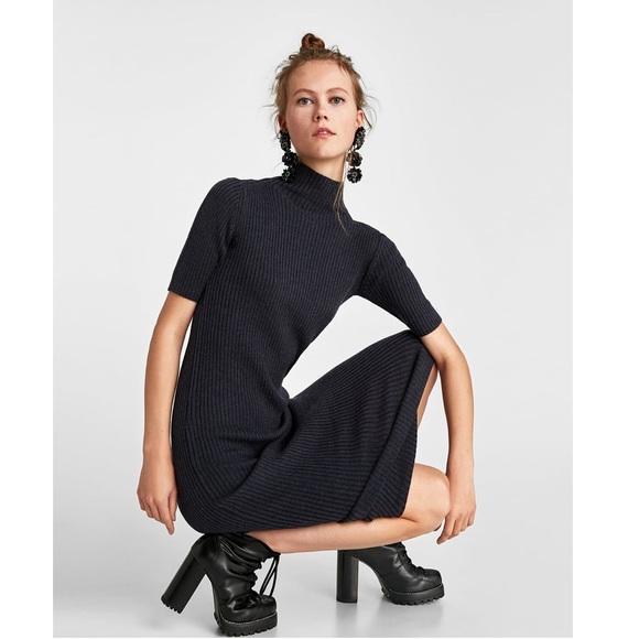 657b0a8cfa NWT 🏷Zara Knit Ribbed Midi Dress NWT
